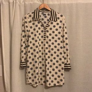 Black and White Polka Dot silky MudPie top